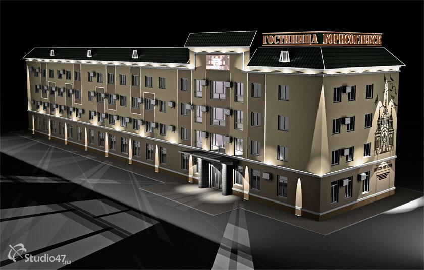 Архитектурная подсветка фасадов гостиницы Борисоглебск