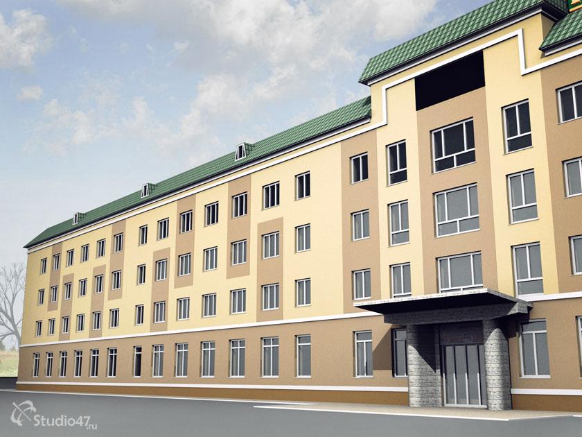 Главный фасад гостиницы Борисоглебск