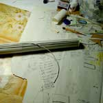 Наклейка заготовок для каннелюр на фуст колонны