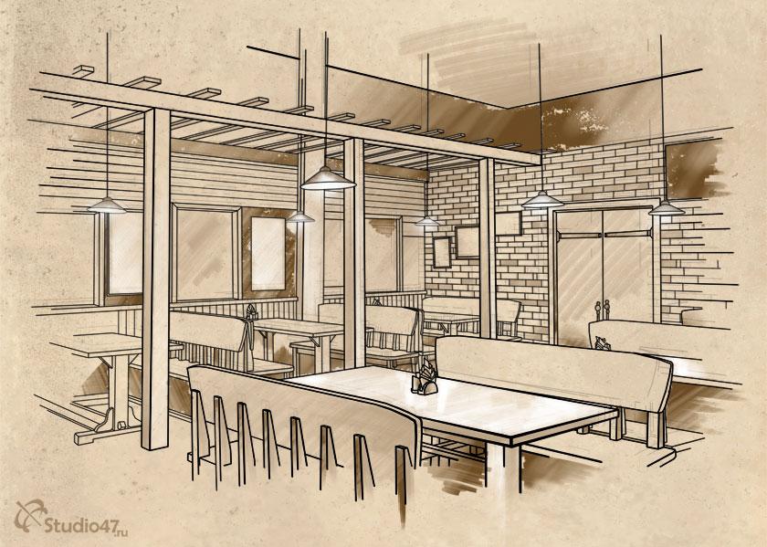 Рисунок интерьеров ресторана