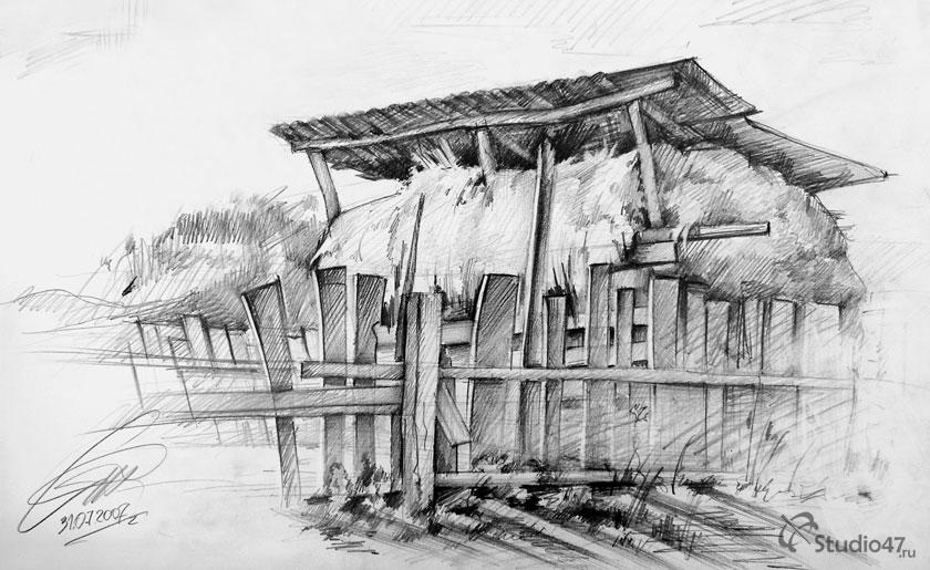 Сеновал в деревне